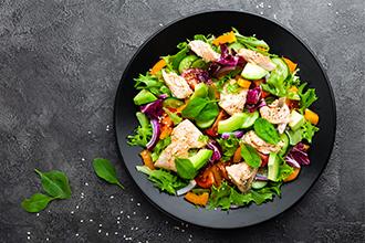 Une assiette saine : fruits et légumes, protéines, fibres et glucides...